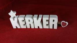 Beton, Steinguss Buchstaben 3D Deko Stern Namen KERKER als Geschenk verpackt!