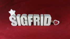 Beton, Steinguss Buchstaben 3D Deko Namen SIGFRID als Geschenk verpackt!