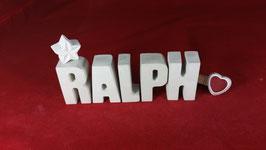 Beton, Steinguss Buchstaben 3D Deko Namen RALPH als Geschenk verpackt!