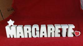 Beton, Steinguss Buchstaben 3D Deko Namen MARGARETE als Geschenk verpackt mit Stern und Herzklammer!