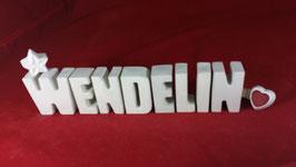 Beton, Steinguss Buchstaben 3D Deko Namen WENDELIN als Geschenk verpackt!