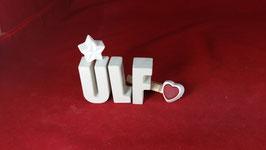 Beton, Steinguss Buchstaben 3D Deko Namen ULF als Geschenk verpackt!