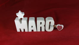 Beton, Steinguss Buchstaben 3D Deko Namen MARC als Geschenk verpackt!