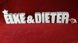 Beton, Steinguss Buchstaben 3D Deko Stern Namen ELKE & DIETER als Geschenk verpackt!