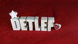 Beton, Steinguss Buchstaben 3D Deko Namen DETLEF als Geschenk verpackt!