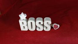 Beton, Steinguss Buchstaben 3D Deko Stern Namen BOSS als Geschenk verpackt!