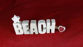 Beton, Steinguss Buchstaben 3D Deko Stern Namen BEACH als Geschenk verpackt!