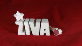 Beton, Steinguss Buchstaben 3D Deko Namen ZIVA als Geschenk verpackt mit Stern und Herzklammer!