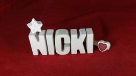 Beton, Steinguss Buchstaben 3D Deko Namen NICKI als Geschenk verpackt!