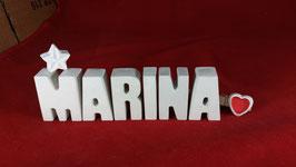 Beton, Steinguss Buchstaben 3D Deko Namen MARINA als Geschenk verpackt mit Stern und Herzklammer!
