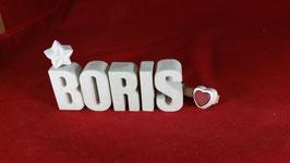 Beton, Steinguss Buchstaben 3D Deko Namen BORIS als Geschenk verpackt!