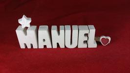 Beton, Steinguss Buchstaben 3D Deko Namen MANUEL als Geschenk verpackt!