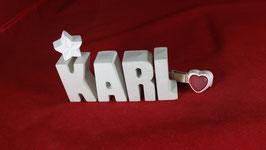 Beton, Steinguss Buchstaben 3D Deko Namen KARL als Geschenk verpackt!