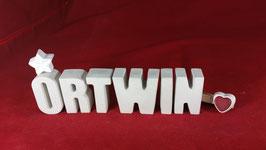Beton, Steinguss Buchstaben 3D Deko Namen ORTWIN als Geschenk verpackt!