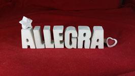 Beton, Steinguss Buchstaben 3D Deko Stern Namen ALLEGRA als Geschenk verpackt!
