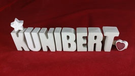 Beton, Steinguss Buchstaben 3D Deko Namen KUNIBERT als Geschenk verpackt!