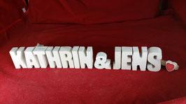 Beton, Steinguss Buchstaben 3D Deko Stern Namen KATHRIN & JENS als Geschenk verpackt!