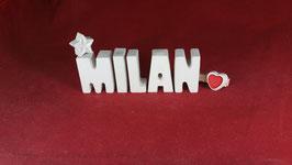 Beton, Steinguss Buchstaben 3D Deko Namen MILAN als Geschenk verpackt!