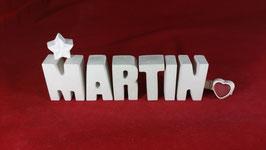 Beton, Steinguss Buchstaben 3D Deko Namen MARTIN als Geschenk verpackt!