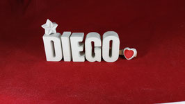 Beton, Steinguss Buchstaben 3D Deko Namen DIEGO als Geschenk verpackt!