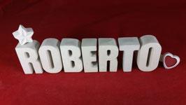 Beton, Steinguss Buchstaben 3D Deko Namen ROBERTO als Geschenk verpackt!