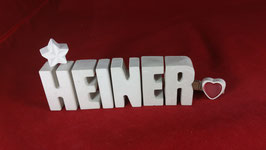 Beton, Steinguss Buchstaben 3D Deko Namen HEINER als Geschenk verpackt!
