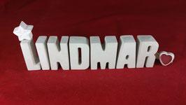 Beton, Steinguss Buchstaben 3D Deko Namen LINDMAR als Geschenk verpackt!