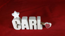 Beton, Steinguss Buchstaben 3D Deko Namen CARL als Geschenk verpackt!