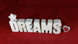 Beton, Steinguss Buchstaben 3D Deko Stern Namen DREAMS als Geschenk verpackt!