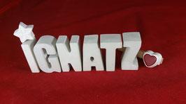 Beton, Steinguss Buchstaben 3D Deko Namen IGNATZ als Geschenk verpackt!