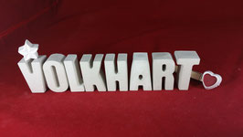 Beton, Steinguss Buchstaben 3D Deko Namen VOLKHART als Geschenk verpackt!