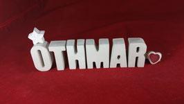 Beton, Steinguss Buchstaben 3D Deko Namen OTHMAR als Geschenk verpackt!