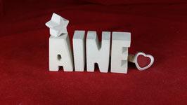 Beton, Steinguss Buchstaben 3D Deko Stern Namen AINE als Geschenk verpackt!