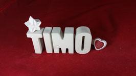 Beton, Steinguss Buchstaben 3D Deko Namen TIMO als Geschenk verpackt!