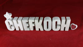 Beton, Steinguss Buchstaben 3D Deko Stern Namen CHEFKOCH als Geschenk verpackt!
