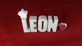 Beton, Steinguss Buchstaben 3D Deko Namen LEON als Geschenk verpackt!
