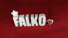 Beton, Steinguss Buchstaben 3D Deko Namen FALKO als Geschenk verpackt!