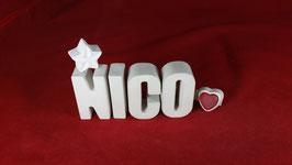 Beton, Steinguss Buchstaben 3D Deko Namen NICO als Geschenk verpackt!