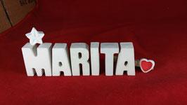 Beton, Steinguss Buchstaben 3D Deko Namen MARITA als Geschenk verpackt mit Stern und Herzklammer!