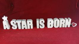 Beton, Steinguss Buchstaben 3D Deko Stern Namen A STAR IS BORN als Geschenk verpackt!