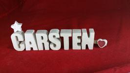 Beton, Steinguss Buchstaben 3D Deko Namen CARSTEN als Geschenk verpackt!