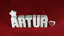 Beton, Steinguss Buchstaben 3D Deko Namen ARTUR als Geschenk verpackt!