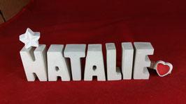 Beton, Steinguss Buchstaben 3D Deko Namen NATALIE als Geschenk verpackt mit Stern und Herzklammer!