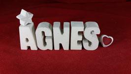 Beton, Steinguss Buchstaben 3D Deko Stern Namen AGNES als Geschenk verpackt!