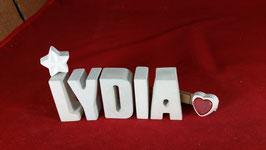 Beton, Steinguss Buchstaben 3D Deko Namen LYDIA als Geschenk verpackt mit Stern und Herzklammer!