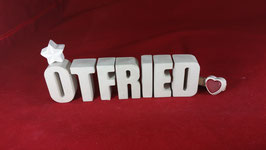 Beton, Steinguss Buchstaben 3D Deko Namen OTFRIED als Geschenk verpackt!