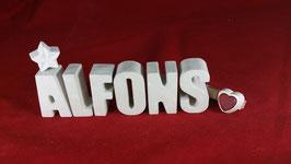 Beton, Steinguss Buchstaben 3D Deko Namen ALFONS als Geschenk verpackt!