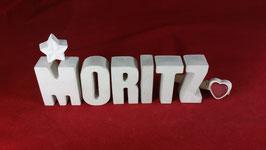 Beton, Steinguss Buchstaben 3D Deko Namen MORITZ als Geschenk verpackt!