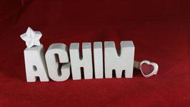 Beton, Steinguss Buchstaben 3D Deko Namen ACHIM als Geschenk verpackt!