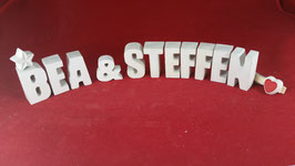 Beton, Steinguss Buchstaben 3D Deko Stern Namen BEA & STEFFEN als Geschenk verpackt!